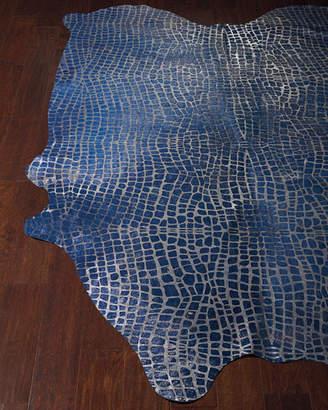 Maddie Croc-Stamped Hair-Hide Rug, 5' x 8'