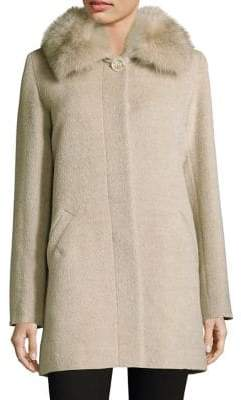 Sofia Cashmere Fox Fur-Trimmed Collar Car Coat