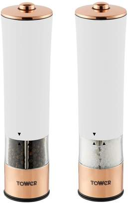 Tower Rose Gold Electric Salt and Pepper Mill – White