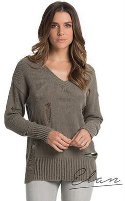 Elan International Long Sleeve Distressed Sweater