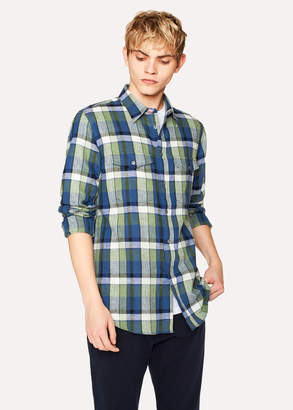 Paul Smith Men's Classic-Fit Navy Check Patch-Pocket Shirt