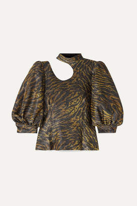 Ganni Tiger-print Cutout Lurex Blouse - Brown