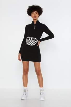 Nasty Gal Zip Top High Neck Mini Dress