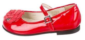 Armani Junior Girls' Patent Leather Appliqué Flats