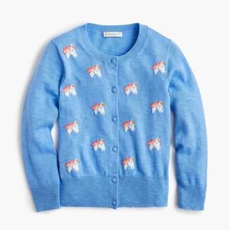 J.Crew Girls' cardigan sweater with unicorns