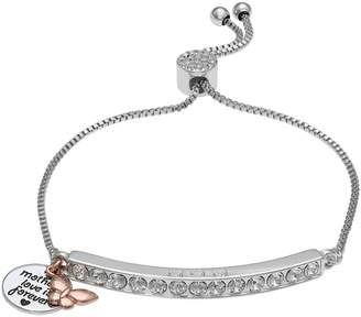 "Brilliance+ Brilliance ""Mom"" Butterfly Charm Adjustable Bar Bracelet with Swarovski Crystals"