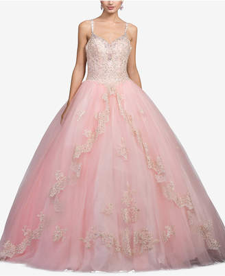 Dancing Queen Juniors' Bejeweled Lace Gown