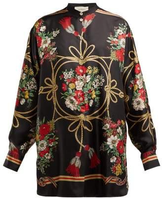 Gucci Floral And Tassel Print Silk Twill Blouse - Womens - Black Print