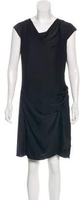 Helmut Lang Draped Cap Sleeve Knee-Length Dress