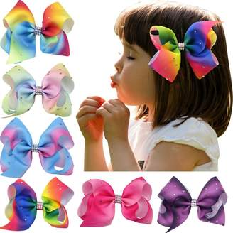 "styling/ Nancyus005 6pcs 4.5"" Rainbow Bow Rhinestone Boutique Hair Bow with Alligator Clips"