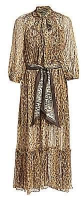 Zimmermann Women's Eye Spy Leopard Tieneck Silk Maxi Dress