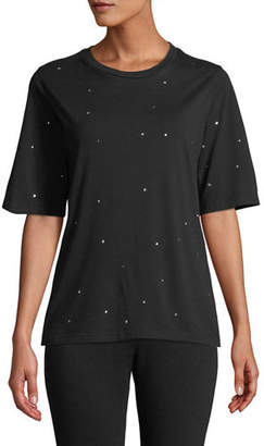 Monrow Oversized Scoop-Neck Tee with Rhinestones