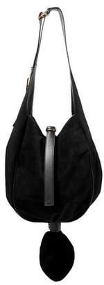 J.W.Anderson Knot Leather-trimmed Suede Shoulder Bag