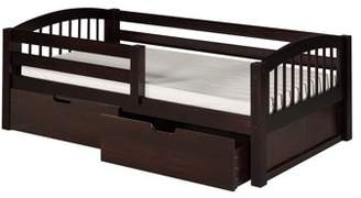Camaflexi Twin Size Day Bed with Front Guard Rail & Drawers - Arch Spindle Headboard - Cappuccino Finish
