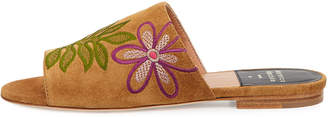 Laurence Dacade Nice Embroidered Flat Suede Slide Sandals, Camel