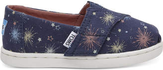 Glow in the Dark Fireworks Navy Canvas Tiny TOMS Classics