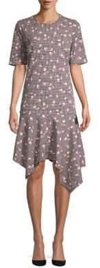 Ellen Tracy Floral Asymmetrical Dress
