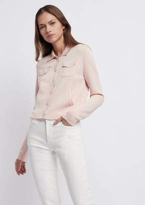 Emporio Armani Plain-Knit Fabric Jacket With Pockets And Collar