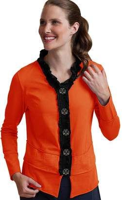 Neon Buddha Women's Cotton Ruffle Cardigan Female Short Jersey Jacket with Large Buttons and Exposed Seams (, XL)