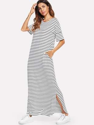 Shein Side Slit Striped Maxi Tee Dress