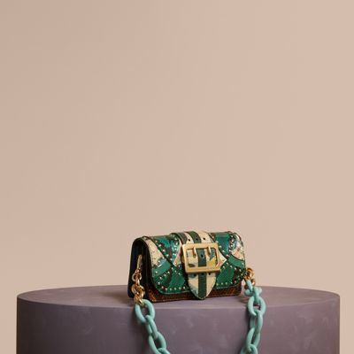Burberry Burberry The Small Buckle Bag in Riveted Snakeskin and Floral Print