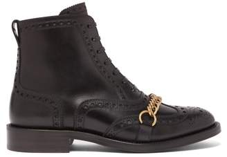 Burberry Barksby Brogue Leather Ankle Boots - Womens - Black