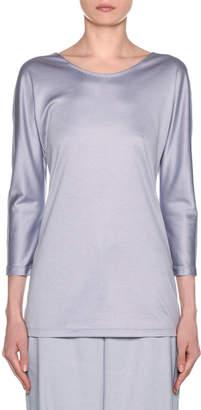 Giorgio Armani Silk-Cotton Knit Long-Sleeve Tunic