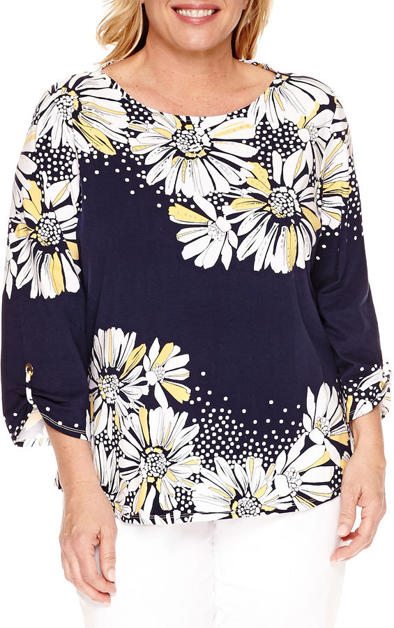 Alfred DunnerAlfred Dunner Seas The Day 3/4 Sleeve Crew Neck T-Shirt-Plus