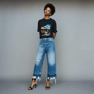 Maje Wide jeans with distressed detailing