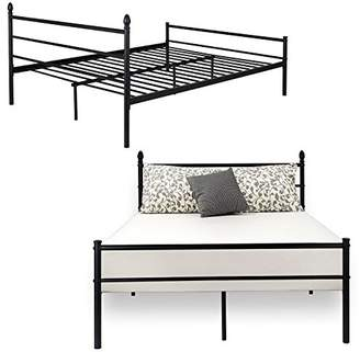 VECELO Reinforced Metal Bed Frame Queen Size Platform Mattress Foundation/Box Spring Replacement with Headboard and Footboard
