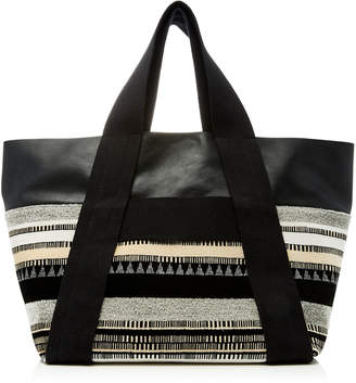 Proenza Schouler Fringed Leather Suede and Jacquard Tote