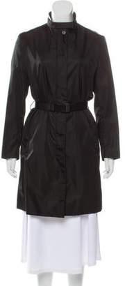 Prada Leather-Trimmed Knee-Length Coat