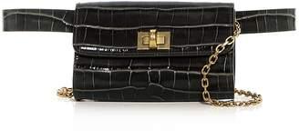 Max Mara Micron Croc Embossed Leather Convertible Belt Bag