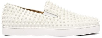 Christian Louboutin Roller Boat Spike Embellished Slip On Trainers - Mens - White