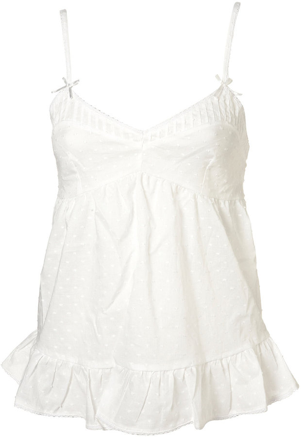White Jaquard Embroidered Pyjama Cami