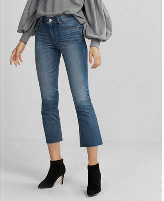 Express mid rise stretch+ performance cropped bell flare jeans