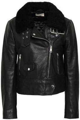 BA&SH Shearling-trimmed Leather Biker Jacket