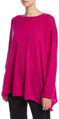 eskandar Cashmere Boat-Neck Long-Sleeve A-Line Long Sweater