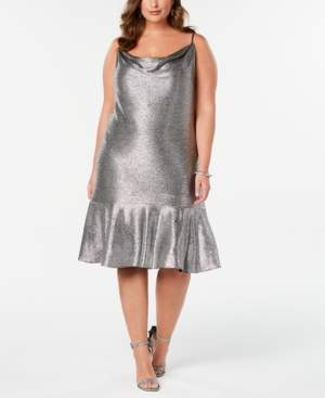 Night Way Nightway Plus Size Metallic Cowlneck Dress