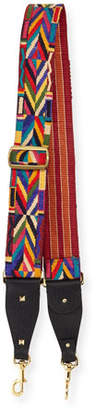 Valentino Geometric-Embroidered Guitar Strap for Handbag