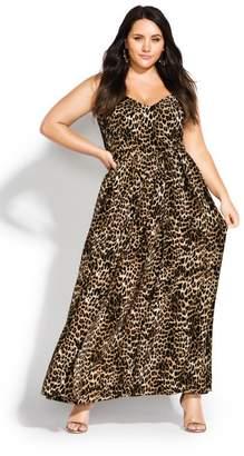 City Chic Citychic Leopard Love Maxi Dress - ochre