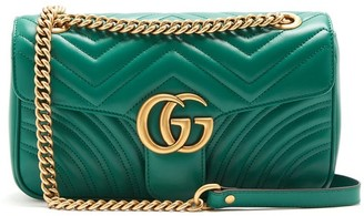 Gucci Gg Marmont Small Quilted Leather Shoulder Bag - Womens - Green
