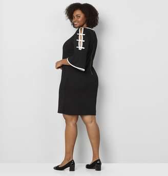 Avenue Black White Ladder Sleeve A-Line Dress