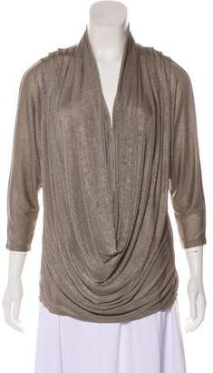 Alice + Olivia Lame` Ruched Top