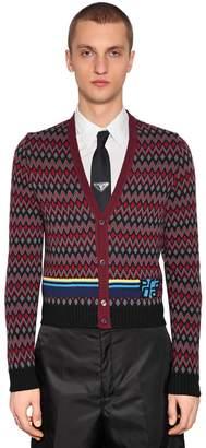 Prada Wool & Cashmere Jacquard Cardigan