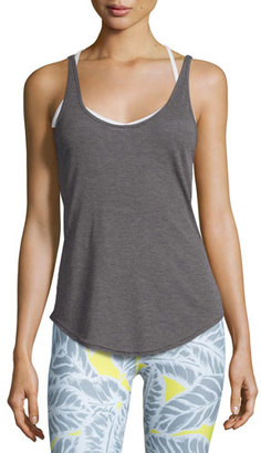 Alo Yoga Sculpt Cutout-Back Ribbed Tank, Dark Heather Gray $46 thestylecure.com