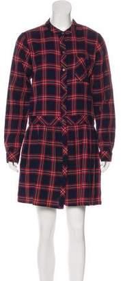 Current/Elliott Plaid Long Sleeve Mini Dress