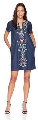 Pendleton Women's Petite Tala Embroidered Cotton Shift Dress