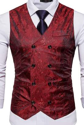 S-Fly Mens Double Breasted Business Club Party Suit Vest Jackets Waistcoat US L