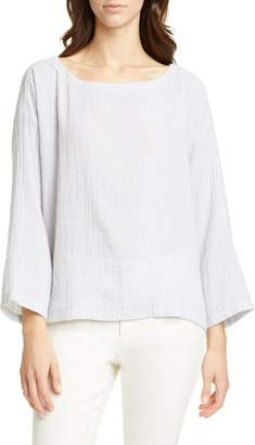 Eileen Fisher Ballet Neck Stripe Organic Cotton Top